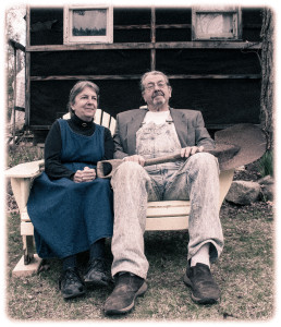 Smiling Gothic Farmers Seated on a Bench
